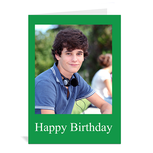 Custom Classic Green Photo Birthday Cards, 5X7 Portrait Folded