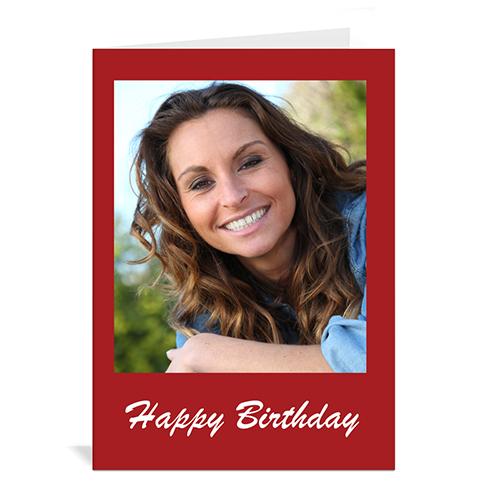 Custom Classic Red Photo Birthday Cards, 5X7 Portrait Folded