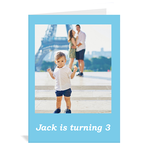 Baby Blue Photo Birthday Cards, 5x7 Portrait Folded