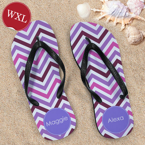 Create Your Own Colors Chevron Personalized Monogrammed, Women's Extra Large Flip Flops