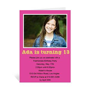 Custom Hot Pink Photo Birthday Cards, 5X7 Portrait Folded