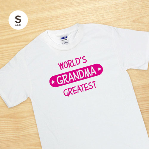 Custom Print World's Greatest Grandma White Adult Small T Shirt