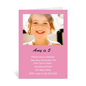 Baby Pink Photo Birthday Cards, 5x7 Portrait Folded