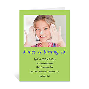 Birthday Lime Photo Cards, 5x7 Portrait Folded