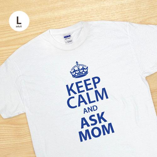 Custom Print Keep Calm And White Adult Large T Shirt