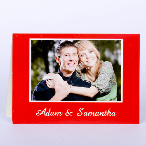 Custom Classic Red Photo Wedding Cards, 5X7 Folded