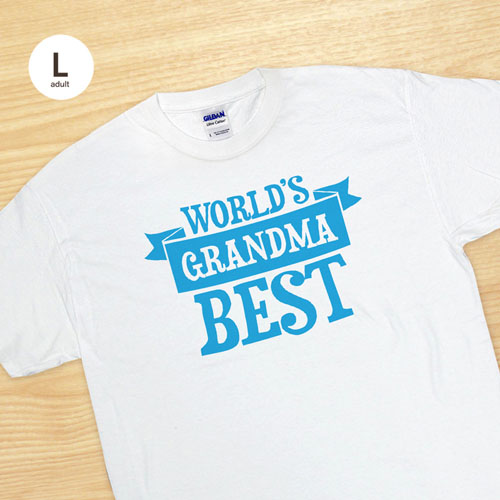 Custom Print World's Best Grandma White Adult Large T Shirt