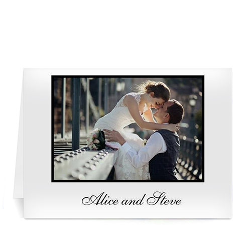 Custom Classic White Wedding Photo Cards, 5X7 Folded
