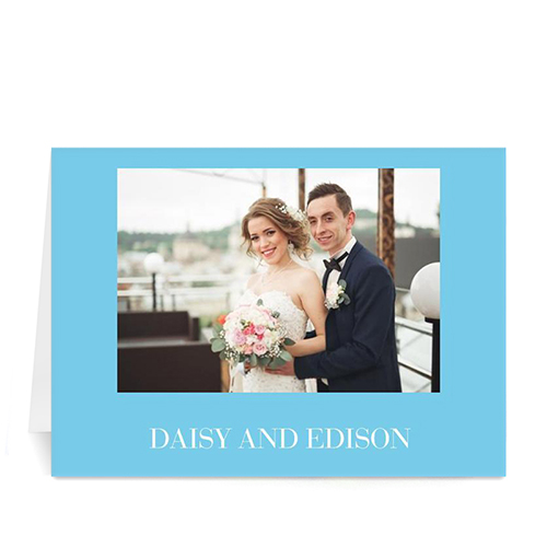 Custom Baby Blue Wedding Photo Cards, 5X7 Folded