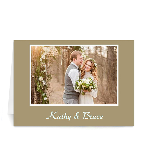 Custom Gold Photo Wedding Cards, 5X7 Folded