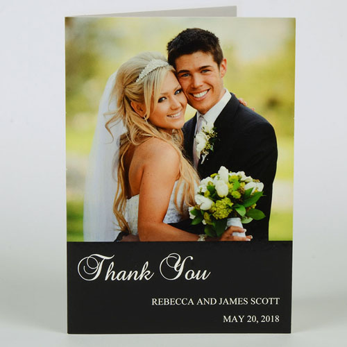 Custom Classic Black Wedding Photo Cards, 5X7 Portrait Folded Simple