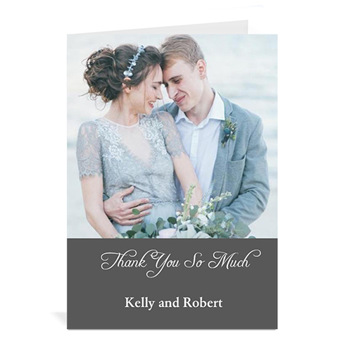 Custom Classic Grey Wedding Photo Cards, 5X7 Portrait Folded Simple