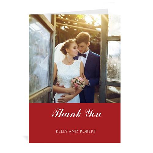 Custom Classic Red Wedding Photo Cards, 5X7 Portrait Folded Simple
