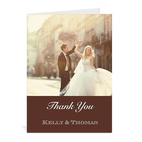 Chocolate Brown Wedding Photo Cards, 5x7 Portrait Folded Simple