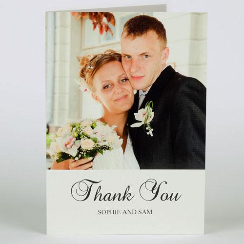 Custom Classic White Wedding Photo Cards, 5X7 Portrait Folded Simple