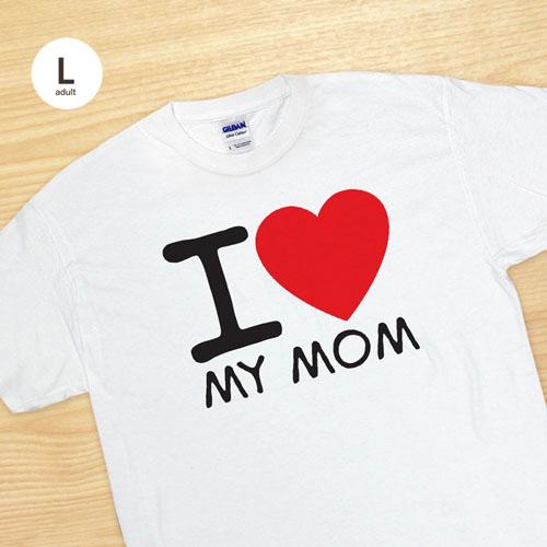 Custom Print I Love White Adult Large T Shirt