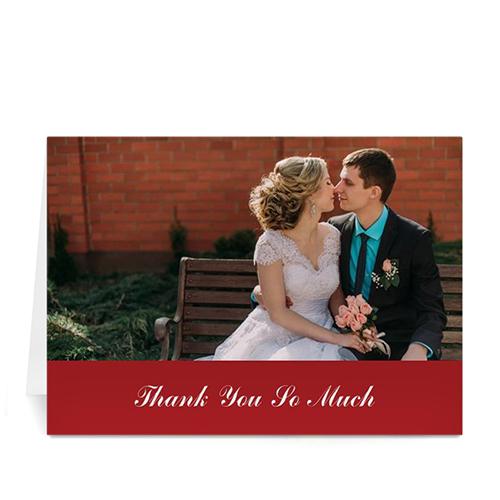 Custom Classic Red Wedding Photo Cards, 5X7 Folded Simple