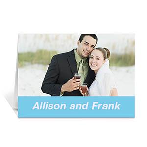 Baby Blue Wedding Photo Cards, 5x7 Folded Simple