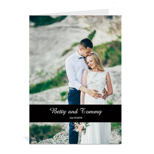 Custom Classic Black Wedding Photo Cards, 5X7 Portrait Folded Causal