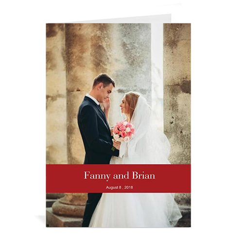 Classic Red Wedding Photo Cards, 5x7 Portrait Folded Causal