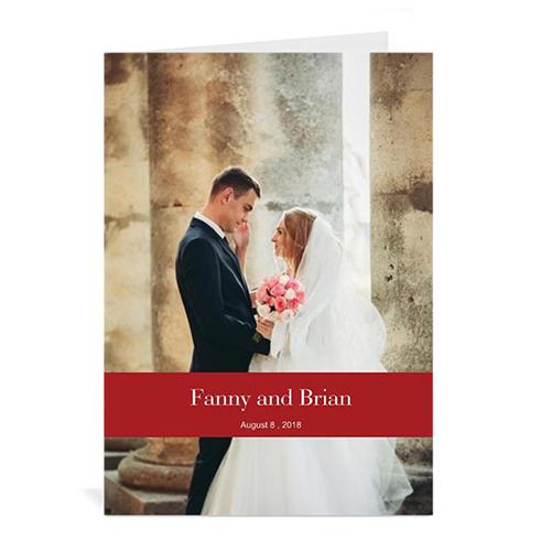 Custom Classic Red Wedding Photo Cards, 5X7 Portrait Folded Causal