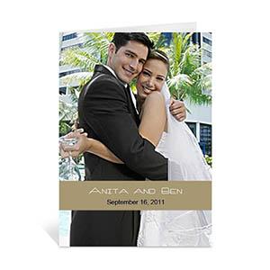 Custom Timeless Gold Wedding Photo Cards, 5X7 Portrait Folded Causal