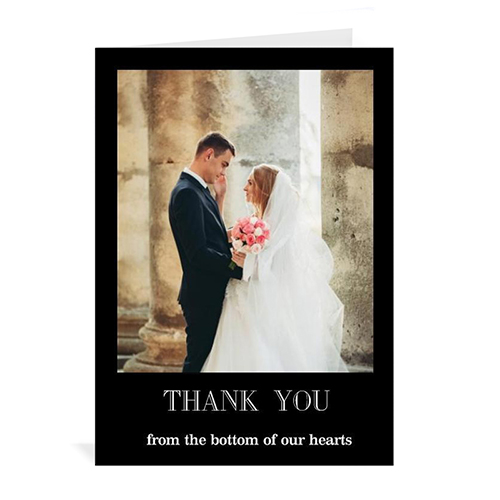 Custom Classic Black Wedding Photo Cards, 5X7 Portrait Folded