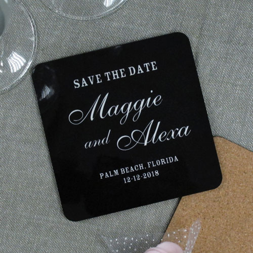 Black Background Color & Text (One coaster)