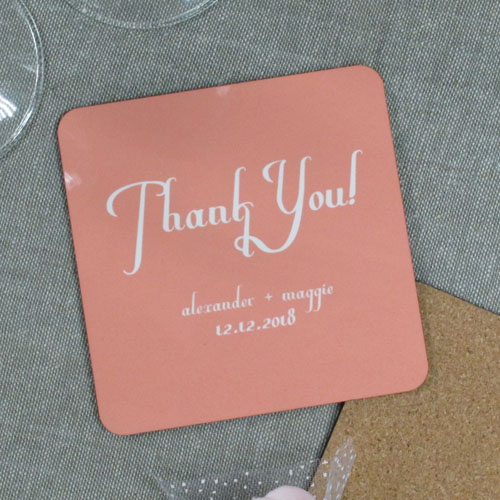 Blush Pink Background Color & Text (One coaster)