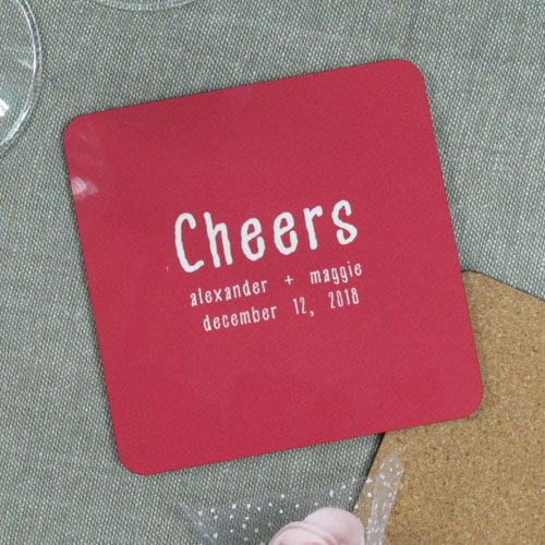Red Background Color & Text (One coaster)