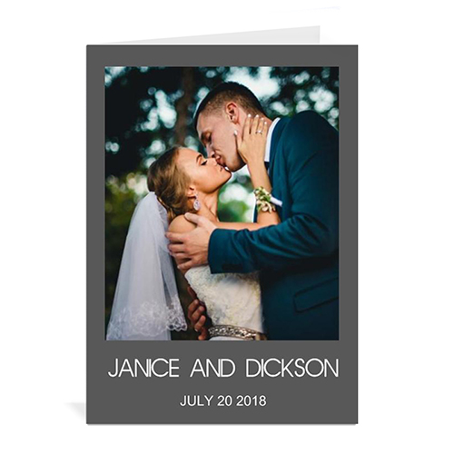 Custom Classic Grey Wedding Photo Cards, 5X7 Portrait Folded