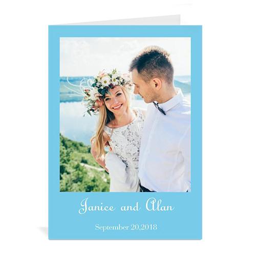 Personalized Baby Blue Wedding Photo Cards, 5X7 Portrait Folded