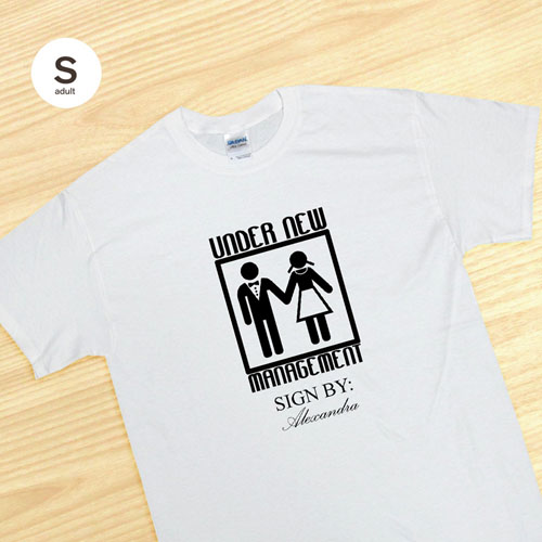 Custom Print Under New Management Wedding Couple, White Adult Small T Shirt