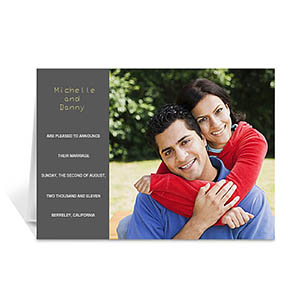 Personalized Classic Grey Wedding Photo Cards, 5X7 Folded Modern