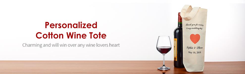 Personalized Cotton Wine Totes