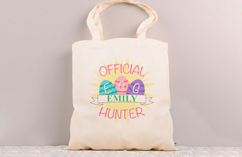 Design Personalized Tote Bags to collect the choccies from the Easter bunny
