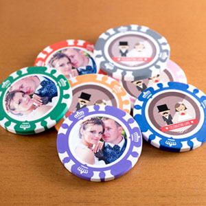 A Selection Of Poker Chips With Different Designs And Colors Plus Personalize Your Chip Chosen Photo To Make Fun Enjoyable Unique Party