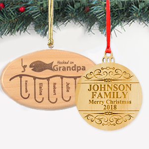 Custom Laser Engrave Wood Ornaments
