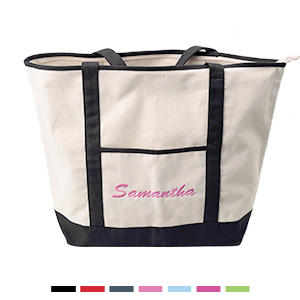 Large Zippered Embroidery Canvas Tote